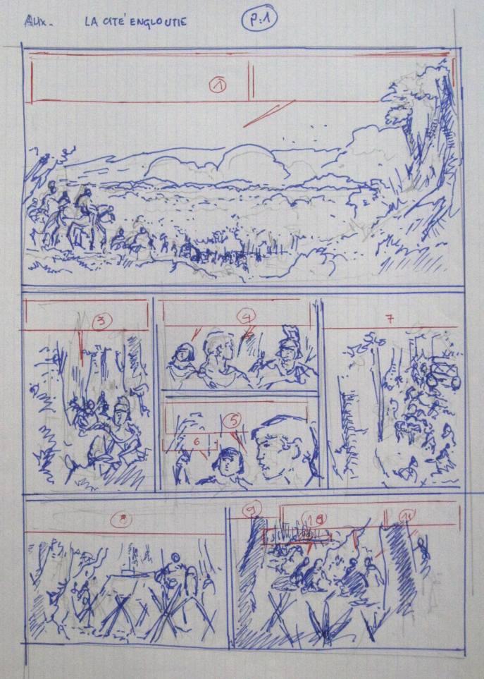 Le découpage de la planche 1 par Jacques Martin
