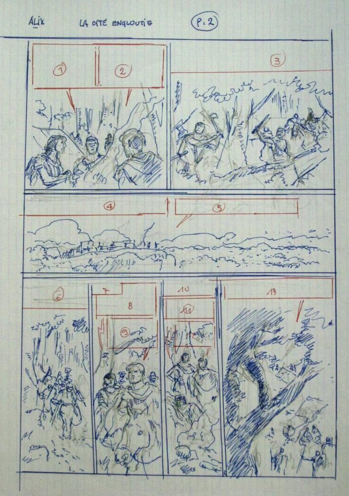 Découpage de la planche 2 par Jacques Martin