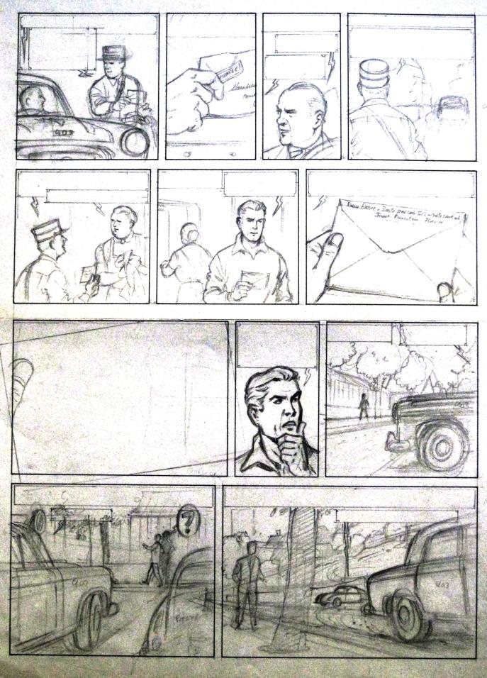 """Crayonné de Jacques Martin pour le """"Maître de l'atome"""""""